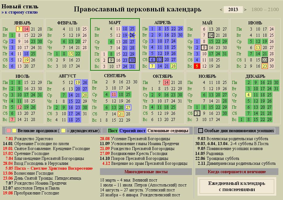 Церковный календарь 2013