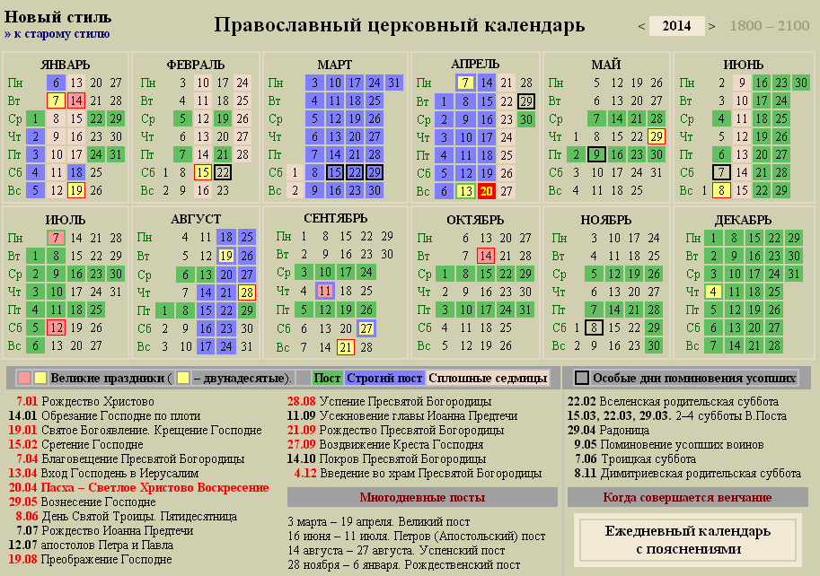 Церковный календарь 2014