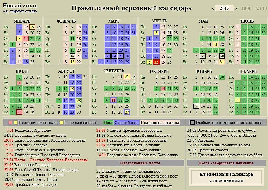 Православный календарь пост август