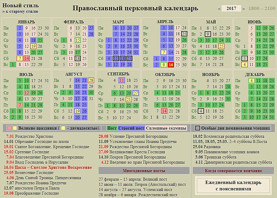 Церковный календарь 2017