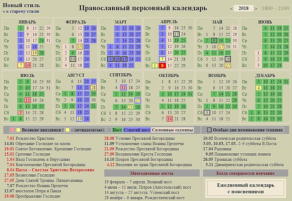 Церковный Православный календарь 2018 ...